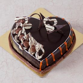Love you heart shape truffle cake